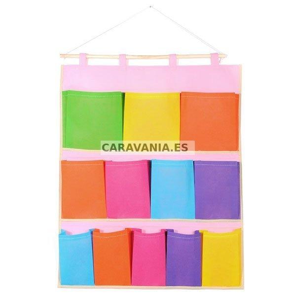 Organizador vertical 5 12 bolsillos caravania - Zapatero de tela para colgar ...